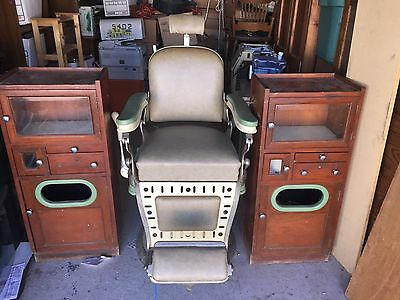 EMIL J. PAIDAR Barber Chair and 2 Barber Shop Cabinets
