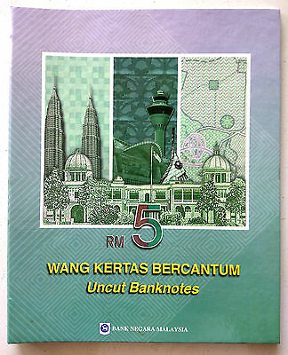 Malaysia Rm5 Uncut Sheet Of 3 Pair New And Old Unc In Folder