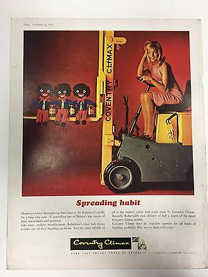 RARE 1965 COVENTRY CLIMAX 'Robertsons' A4 Vintage Colour Forklift Truck Advert