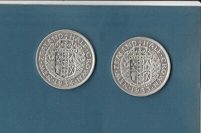 New Zealand Silver Half Crown 1933 1934  #2