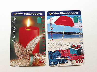Telstra Phonecards $5 + $10 CHRISTAMS 1995 - Used with one hole