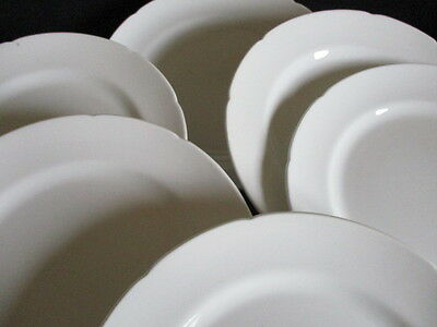 Vintage white china 8 inch plates x 6 lovely condition