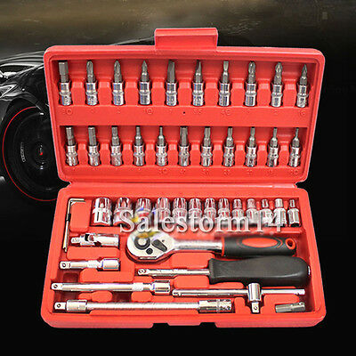 "46pcs Socket Wrench Set Case CRV 1/4"" Drive Metric Flexiable Extension Bar Truck"