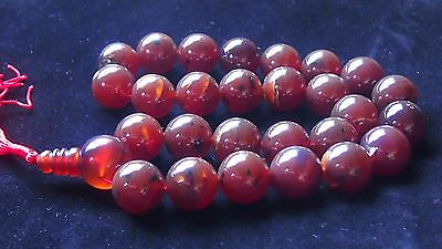 195 Gram 27 Round Beads Mala Necklace Indonesian Opaque Red Amber 22 mm