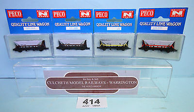 Peco 'n' Gauge Rake Of 4X Various Assorted Hopper Wagons Boxed #414