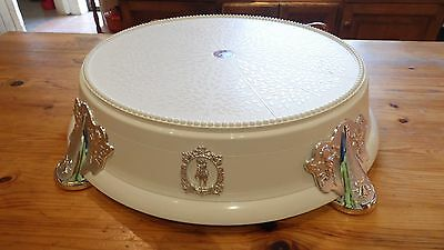 """Wedding Cake Stand 14"""" Round or Square White with Silver or Gold Dibro."""