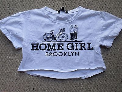 Girls Candy Couture White Cotton Cropped Home Girl Brooklyn T-Shirt Age 8-9 Year