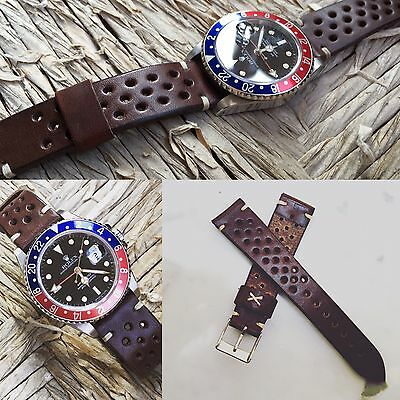 20 mm Dark Brown Leather Racing Rally Strap for vintage speedmaster carrera gmt