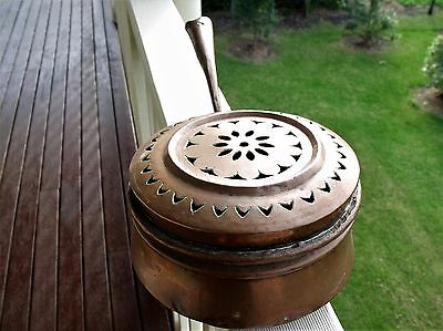 Antique copper bed warmer. late 1800's 118 cm diameter. Very collectable.