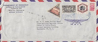 G 571 Managua March 1954 Official airmail cover USA; 4 stamps