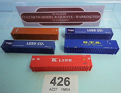 Dapol 'n' Gauge Lot Of 5X Various Assorted 45Ft Hi Cube Containers #426