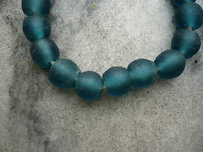 "Strang Altglasperlen 13 mm ""Mali Blue"" - Recycled Glass Beads Ghana Krobo"