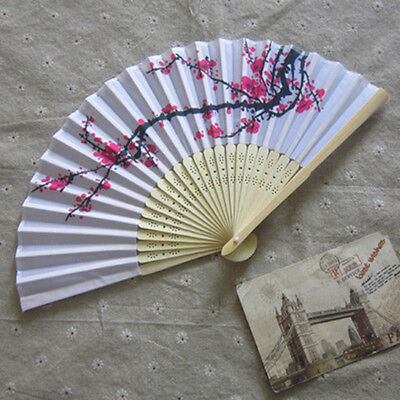 Unqiue Chinese Folding Hand Fan Japanese Cherry Blossom Design Silk Costume R3N