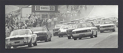 1 B&W photo 1967 Brands BSCC start Jackie Oliver Ford Mustang + Lotus Cortina