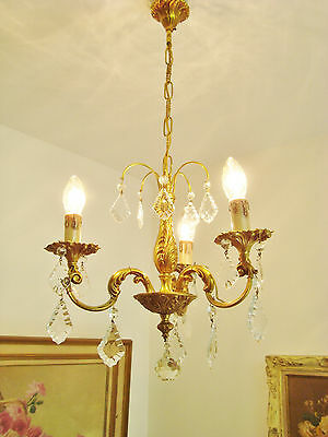 Lovely Vintage Chandelier Glass Droplets Quality Bronze French Rococo Lustre