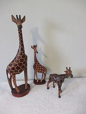 "2 Wood Carved Giraffes 18"" 12"" And 9"" Paper Mache Leather Ears Giraffee"