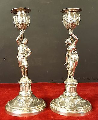 Pair Of Candlesticks. Silver Needle-Punched. Debain. France. 19Th Century.
