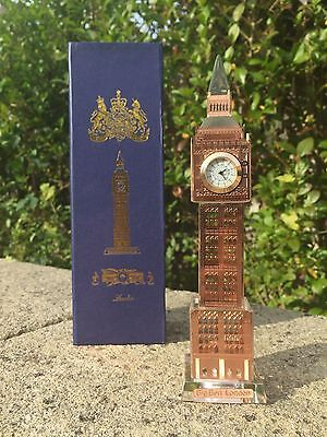 London Big Ben Crystal Glass Clock Souvenir With Changing Lights Bronze