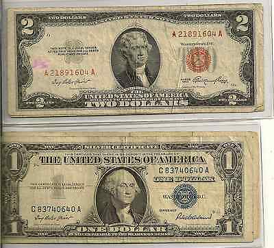 1928 or 53 or 63 $2 Red Seal & 1935or57 $1 SC Lot of 2 high circulation $3 face