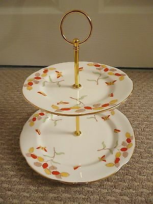 2 X Vintage Royal Stafford Honesty Pattern 2 Tier Cake Stands