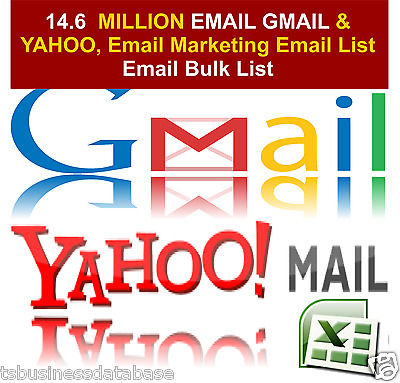 14.6 MILLION EMAIL GMAIL & YAHOO, Email Marketing Email List Email Bulk List