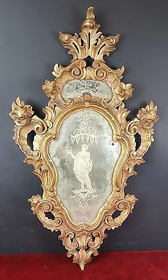 Mirror. Louis Xvi Style. Wood Stewed In Gold. Crystal La Granja. 19Th Century.
