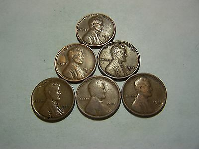 6-Lincoln Wheats 1911 1914 1920-S 1925-S 1936-S 1942-D