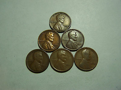 6-Lincoln Wheats 1916 1921-S 1924-S 1927-S 1935-S 1939-S