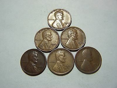6-Lincoln Wheats 1914 1919-S 1934-D 1936-D 1939 1940-S