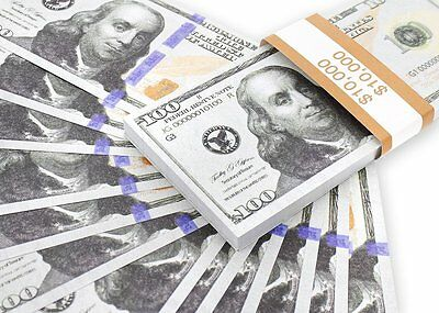 Realistic Double Sided Prop Money - Set of 100 $100 Dollar Bills Fake Prank USA