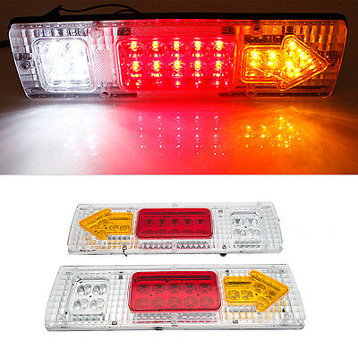 2x 12V 19 LED REAR TAIL STOP INDICATOR LIGHTS LAMP TRUCK TRAILER LORRY CARAVAN