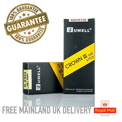 Authentic Uwell Crown 3 III Tank Replacement Coils Pack Of 4 0.5 Ohm 0.25 Ohm Ω