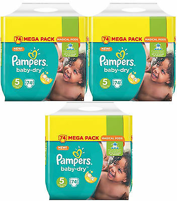 NEUF Lot de 222 Couches Pampers baby-dry Taille 5 Junior de 11 à 23kg Mega Pack