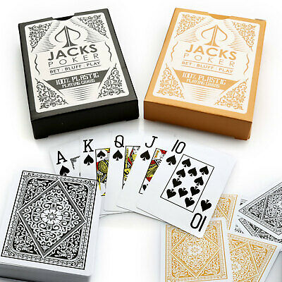 Jacks Poker 100% Plastic Playing Cards 2 Decks 1 Black / 1 Gold Jumbo Index NEW