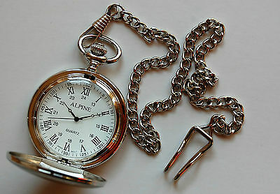 """Mens Pocket Watch. Roman Numerals silver 14"""" chain and clip. FREE spare battery"""