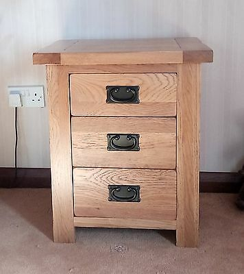 solid rustic oak bedside cabinet with three drawers