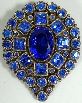 ANTIQUE DRESS Clip Brooch Scarf Pin Victorian Faux Glass Sapphire Blue Brass Vtg