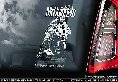 John McGuinness - Superbike Car Window Sticker-Isle of Man IOMTT n.Guy Martin TT
