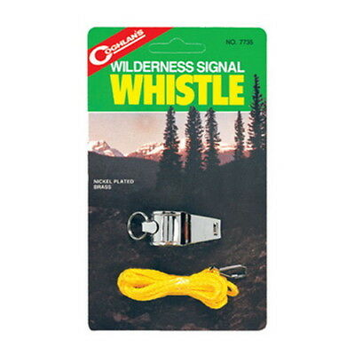 Coghlans Wilderness Signal Whistle Nickel Plated with Lanyard 7735