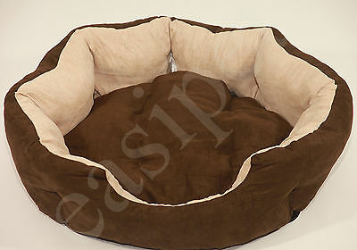 Dog Bed Pet Cat Puppy Soft Suede Deluxe Oval Cushion LARGE