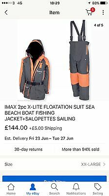 IMAX 2pc X-LITE FLOATATION SUIT SEA BEACH BOAT FISHING JACKET+SALOPETTES SAILING