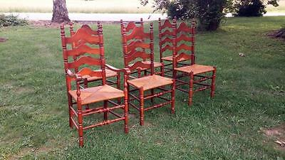 Set 6 Vintage Solid Cherry Ladderback Dining Chairs w/ Rush Seats 5 Side 1 Arm