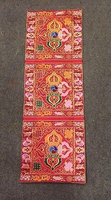 Tibetan Double Dorje Red Silk Brocade Table Placemat /altar cloth /cover /shrine