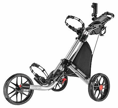 Caddytek EZ Quickfold Deluxe 3 Rad Golf Push Trolley SILBER