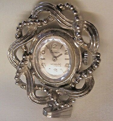 necklace watch Kaltron 17 jewels Incabolc swiss made silver tone steampunk VTG