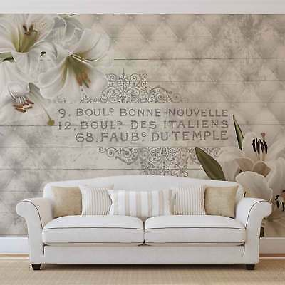 WALL MURAL PHOTO WALLPAPER XXL Quilted Pattern Lilies Flowers Vintage (10051WS)