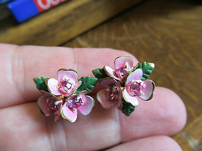 Vintage 40's Cold Painted Austrian Crystal flower clip on earrings in Pink.