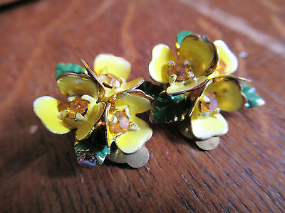 Vintage 40's Cold Painted Austrian Crystal flower clip on earrings in Yellow.