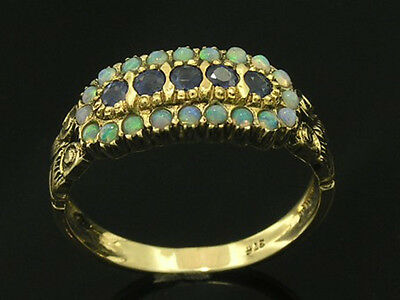 C1062- Genuine 9ct Solid GOLD NATURAL SAPPHIRE & OPAL Eternity Ring in your size