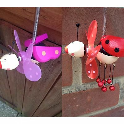 2x Bouncing Bug Wind Chime Lady Bird Windmill Spring Bumble Bee Garden Ornament